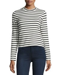 J Brand Harper Striped Long Sleeve Crop Top Black Cream Black White