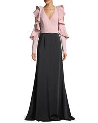 David Meister Two Tone Ruffle Sleeve Mermaid Gown Pink Black