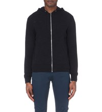 Sandro Zip Up Cotton Blend Hooded Cardigan Marine