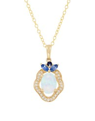 Lord And Taylor Opal Sapphire Diamond 14K Yellow Gold Necklace Blue