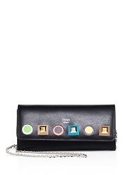 Fendi Long Rainbow Studded Leather Chain Wallet Nero