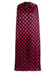 Duro Olowu Large Polka Dot Print Silk Satin Cape Black Pink