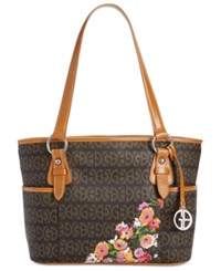 Giani Bernini Floral Block Signature Tulip Tote Only At Macy's Brown Taupe