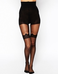 Pretty Polly Curves Mock Spot And Lace Suspender Tights Black