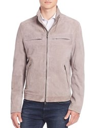 Hugo Boss Nelmo Perforated Suede Jacket Taupe