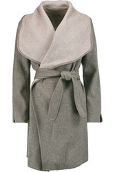 Vince Leather Trimmed Wool Blend Coat Gray