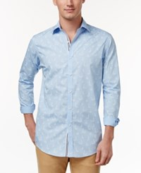 Club Room Men's Sailboat Print Shirt Only At Macy's Pale Ink Blue