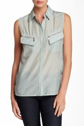 L.A.M.B. Voile Sleeveless Blouse Blue