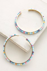 Anthropologie Althea Hoop Earrings Blue