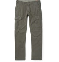 Jean Shop Gene Slim Fit Selvedge Cotton Twill Cargo Trousers Green