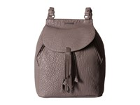 Just Cavalli Solid Pebbled Calf Skin Backpack Litium Backpack Bags Pewter