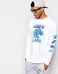 Pink Dolphin Wave Long Sleeve T Shirt White