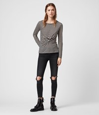 Allsaints Jess Stripe Long Sleeve T Shirt Chalk Ink Blue