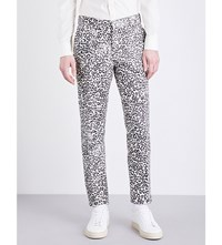Alexander Mcqueen Regular Fit Tapered Leopard Jacquard Trousers Ivory Black