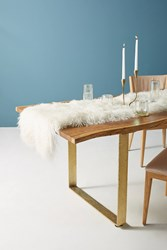 Anthropologie Luxe Wool Table Runner White