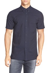 Barney Cools 'Kingswell' Microdot Short Sleeve Button Front Shirt Navy Polka