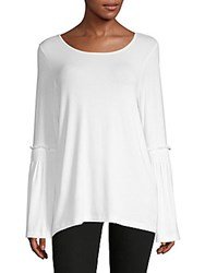 Saks Fifth Avenue Knit Ruffle Sleeve Top White
