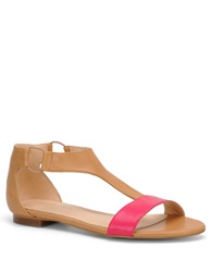 Carmen Marc Valvo Giselle Leather T Strap Sandals Tan Pink