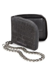Jimmy Choo Croc Embossed Leather Chain Wallet Black