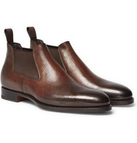 Santoni Burnished Grained Leather Chelsea Boots Brown