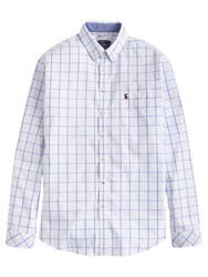 Joules Welford Windowpane Check Classic Fit Shirt Blue Overcheck