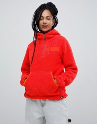 Dickies Hoodie With Embroidered Chest Logo In Teddy Fleece Orange