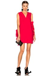 Msgm V Neck Ruffle Dress In Pink