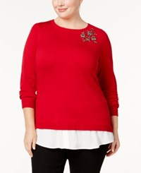 Charter Club Plus Size Layered Look Brooch Sweater Created For Macy's New Red Amore
