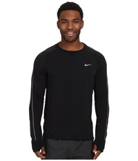 Nike Dri Fit Sprint Crew Black Black Black Reflective Silver Men's Long Sleeve Pullover