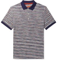 Missoni Striped Cotton Polo Shirt Blue