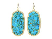 Kendra Scott Danielle Earrings Gold Bronze Veined Turquoise Magnesite Earring Blue