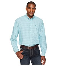 Cinch Long Sleeve Plain Weave Plaid Turquoise Long Sleeve Button Up Blue