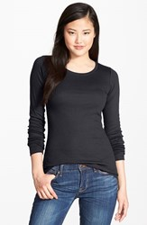 Petite Women's Caslon Long Sleeve Crewneck Cotton Tee Black