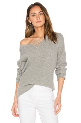 Central Park West Leeds Lace Up Sweater Gray