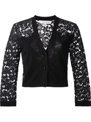 Carolina Herrera Lace Sleeve Cardigan Black
