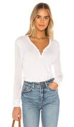 Splendid Collection Cashmere Blend Henley Sweater In White. Heather White