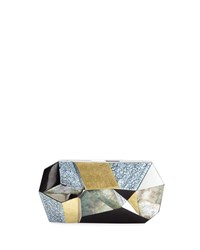 Rafe Vivienne Faceted Shell Minaudiere Clutch Bag Black Gray