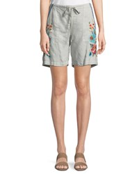Johnny Was Vernazza Embroidered Linen Drawstring Shorts Sand