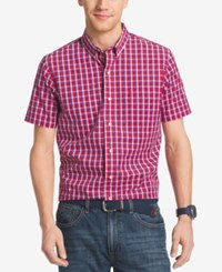 Izod Men's Big And Tall Grid Non Iron Short Sleeve Shirt Real Red