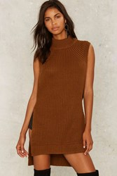 See My Side Sweater Dress Brown