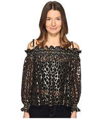 Just Cavalli Off The Shoulder Printed Long Sleeve Top Gold Women's Clothing