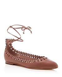 Via Spiga Sammy Ankle Tie Pointed Toe Flats Dusty Rose