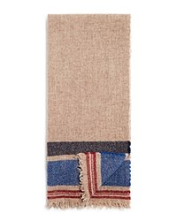 Bloomingdale's The Mens Store At Bloomingdales Natural Border Stripe Wool Scarf Oatmeal