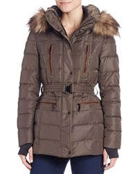 Vince Camuto Faux Fur Trimmed Puffer Jacket Bark