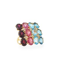 Vianna B.R.A.S.I.L Multicolor Cocktail Ring W Diamond Accents Size 7.5