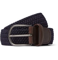 Andersons 3.5Cm Midnight Blue Woven Waxed Cord Belt