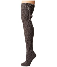 Ugg Sparkle Cable Knit Socks Charcoal Heather Silver Women's Knee High Socks Shoes Olive