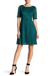Eliza J Lace Fit And Flare Dress Petite Green