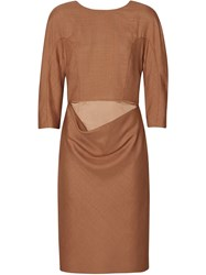 Burberry Double Waist Wool Silk Mohair Linen Shift Dress Brown