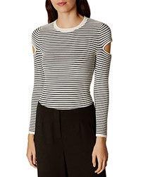 Karen Millen Slash Sleeve Striped Sweater Black White